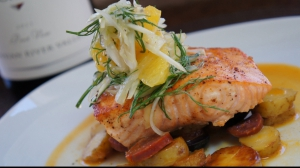 Grilled Paprika Salmon with Fingerling Potatoes, Chorizo Sauce, and Fennel Citrus Salad