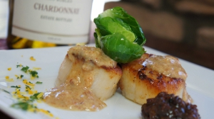Pan Seared Scallops with Bacon Jam and Brown Butter Sauce