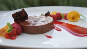 Chocolate Cremeux with Peach Compote, Chocolate Tuile & Fruit Puree