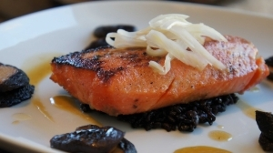 Miso Marinated Pacific Salmon Forbidden Rice and Mushroom