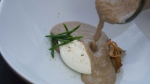 Wild Mushroom Soup with Whipped Mascarpone and Talon Chives