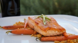 White Miso Glazed Salmon with Fried Rice, Baby Carrots, and a Scallion Sauce