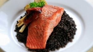 Seared Alaskan Salmon with Beluga Lentils