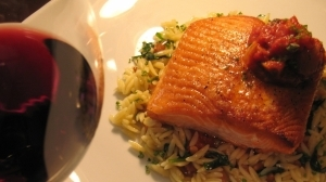 Alaskan King Salmon with Orzo Pasta and Puttanesca Sauce